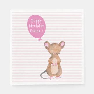 Cute Woodland Mouse Custom Birthday Paper Napkins