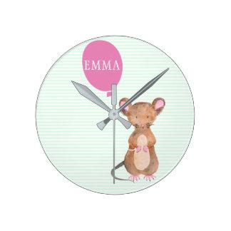 Cute Woodland Mouse Kids / Mint Nursery Wall Clock