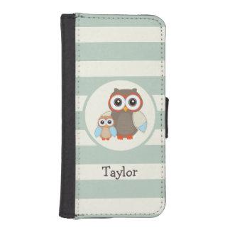 Cute Woodland Owls; Light Sage Green Phone Wallet