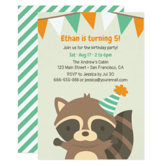 Cute Woodland Raccoon Birthday Party Invitations