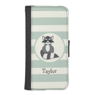 Cute Woodland Raccoon; Light Sage Green iPhone 5 Wallet Cases