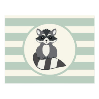 Cute Woodland Raccoon; Light Sage Green Postcard