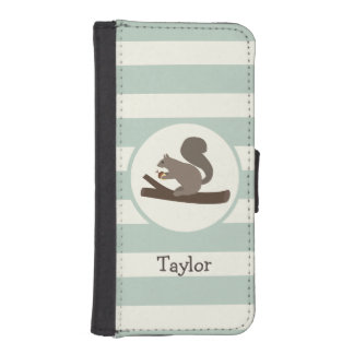 Cute Woodland Squirrel on Light Sage Green iPhone 5 Wallet