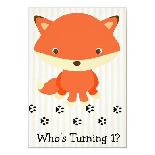 Cute Woodlands Fox 1st Birthday Party Invitation