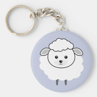 Cute Wooly Lamb Face Basic Round Button Key Ring