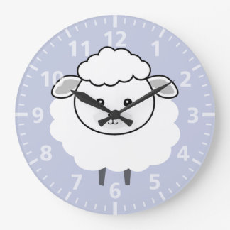 Cute Wooly Lamb Face Large Clock