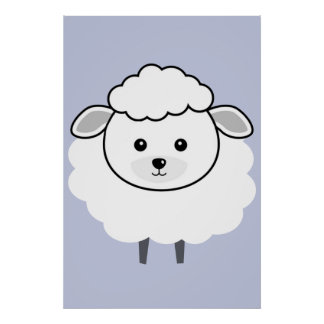 Cute Wooly Lamb Face Poster