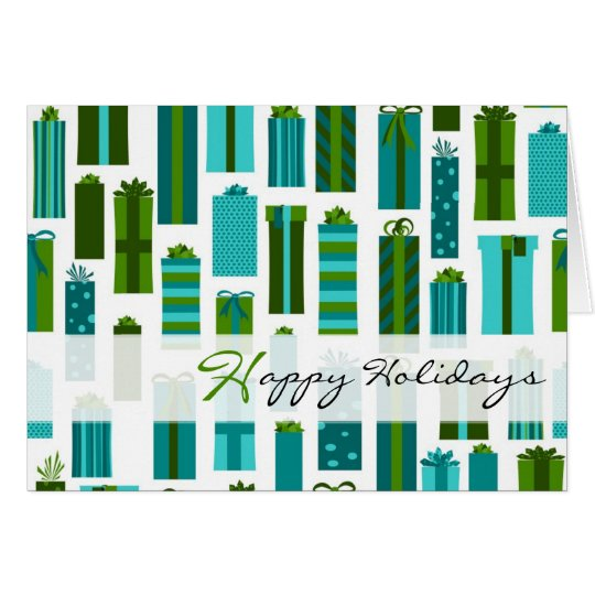 Cute Wrapped Presents Happy Holidays - Green Blue Card