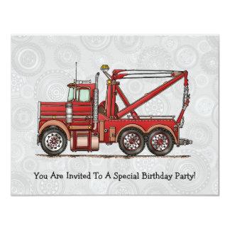 "Cute Wrecker Truck 4.25"" X 5.5"" Invitation Card"