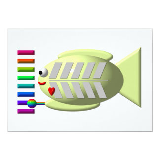 Cute X-ray fish playing the xylophone 13 Cm X 18 Cm Invitation Card