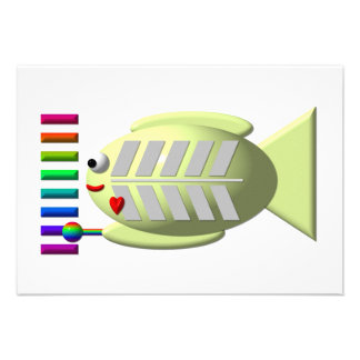 Cute X-ray fish playing the xylophone Personalized Invitation