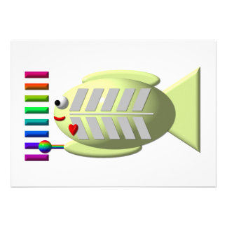 Cute X-ray fish playing the xylophone Invites
