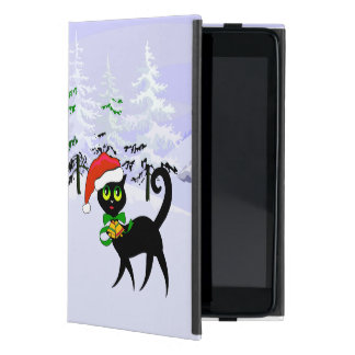 Cute Xmas Cat in Santa hat iPad Mini Cover