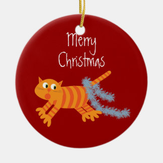 Cute Xmas Cat Running Away From Tinsel On His Tail Double-Sided Ceramic Round Christmas Ornament