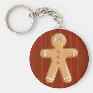 Cute xmas gingerbread man cookie basic round button key ring