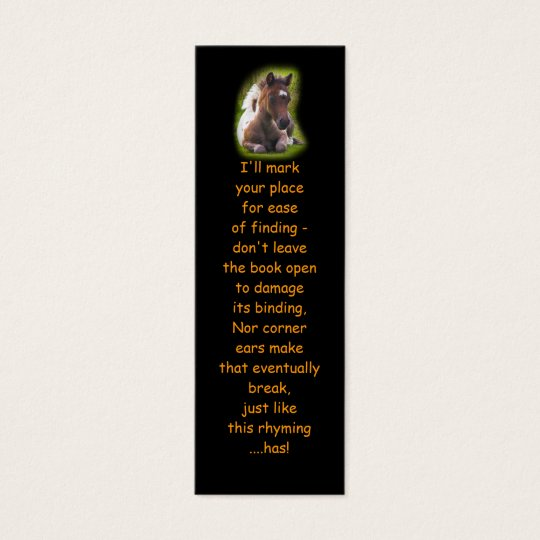 Cute Yearling Foal bookmarks Mini Business Card