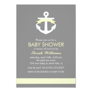 Cute Yellow Anchor Nautical Theme Baby Shower Card
