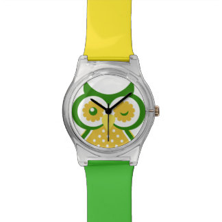 Cute Yellow And Green Owl Design Watch