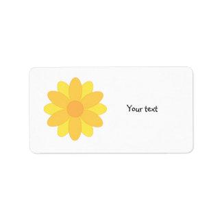 Cute yellow and orange flower design address label