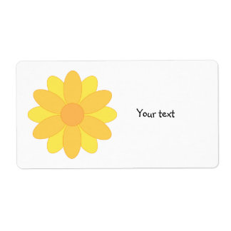 Cute yellow and orange flower design shipping label