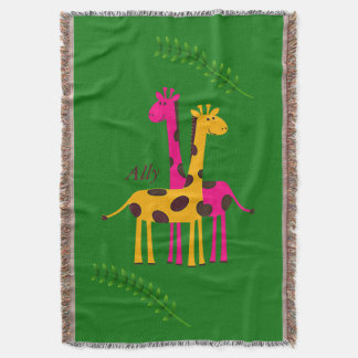 Cute Yellow and Pink Giraffe Duo Throw Blanket