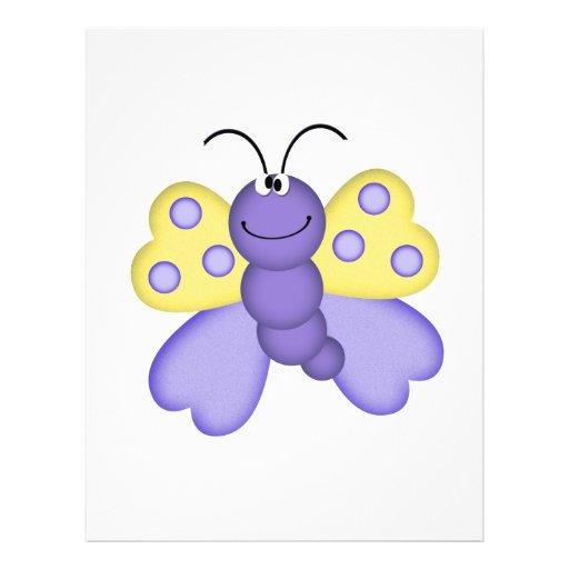 cute yellow and purple happy butterfly cartoon custom flyer
