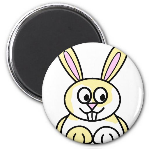 Cute Yellow and White Bunny Rabbit Magnet