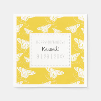 Cute Yellow And White Butterfly Napkins Disposable Serviette