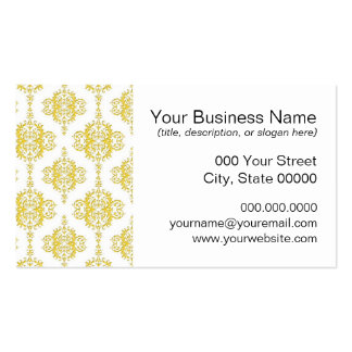 Cute Yellow and White Damask Business Card