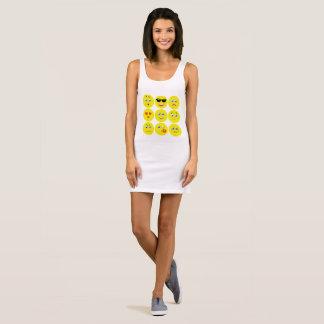 Cute Yellow And White Emojis Sleeveless Dress
