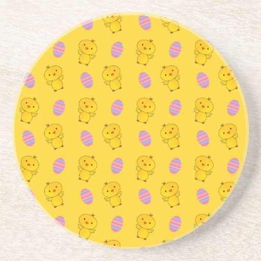 Cute yellow baby chick easter pattern beverage coasters