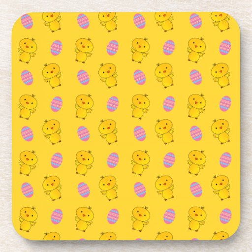 Cute yellow baby chick easter pattern coasters