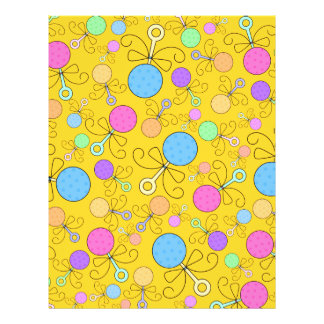 Cute yellow baby rattle pattern full color flyer