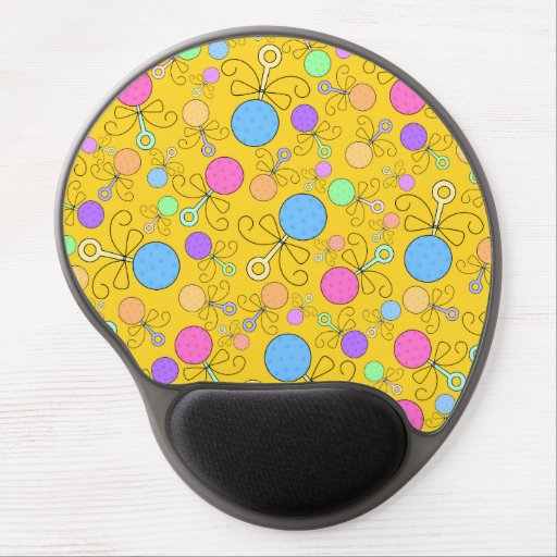 Cute yellow baby rattle pattern gel mouse mats
