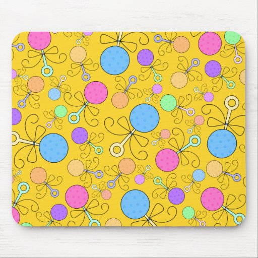 Cute yellow baby rattle pattern mouse pads