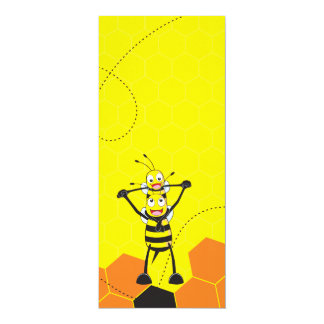"""Cute Yellow Bee Happy Playing Daddy Son 4"""" X 9.25"""" Invitation Card"""