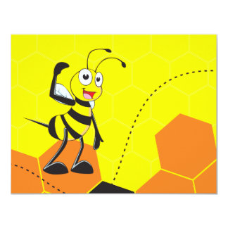 Cute Yellow Bee Happy Playing Daddy Son Party Custom Invitations
