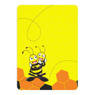 """Cute Yellow Bee Happy Playing Daddy Son Party 5"""" X 7"""" Invitation Card"""