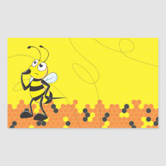 Cute Yellow Bee Happy Thinking Hand on Chin Rectangular Sticker