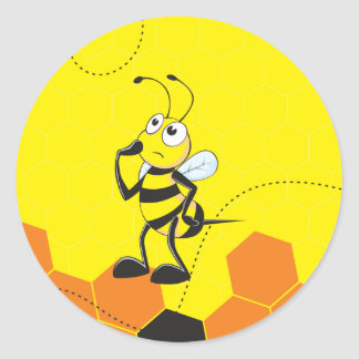 Cute Yellow Bee Happy Thinking Hand on Chin Round Sticker