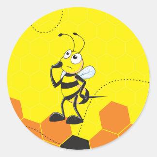 Cute Yellow Bee Happy Thinking Hand on Chin Round Sticker