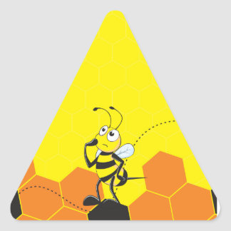 Cute Yellow Bee Happy Thinking Hand on Chin Triangle Stickers