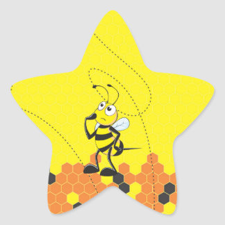 Cute Yellow Bee Happy Thinking Hand on Chin Star Stickers