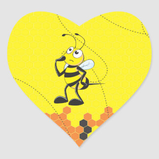 Cute Yellow Bee Happy Thinking Hand on Chin Heart Sticker