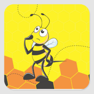 Cute Yellow Bee Happy Thinking Hand on Chin Square Stickers