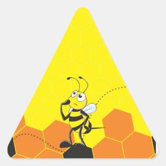 Cute Yellow Bee Happy Thinking Hand on Chin Triangle Sticker