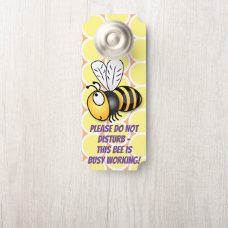 Cute yellow bee I'm busy cartoon illustration Door Hanger