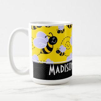 Cute Yellow & Black Bee Basic White Mug