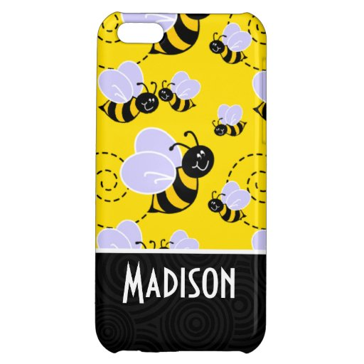 Cute Yellow & Black Bee Case For iPhone 5C
