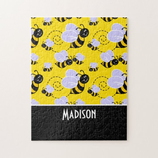 Cute Yellow & Black Bee Jigsaw Puzzle